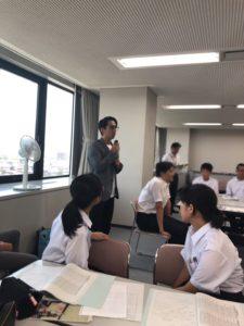 山栄工業代表取締役と中学生の交流